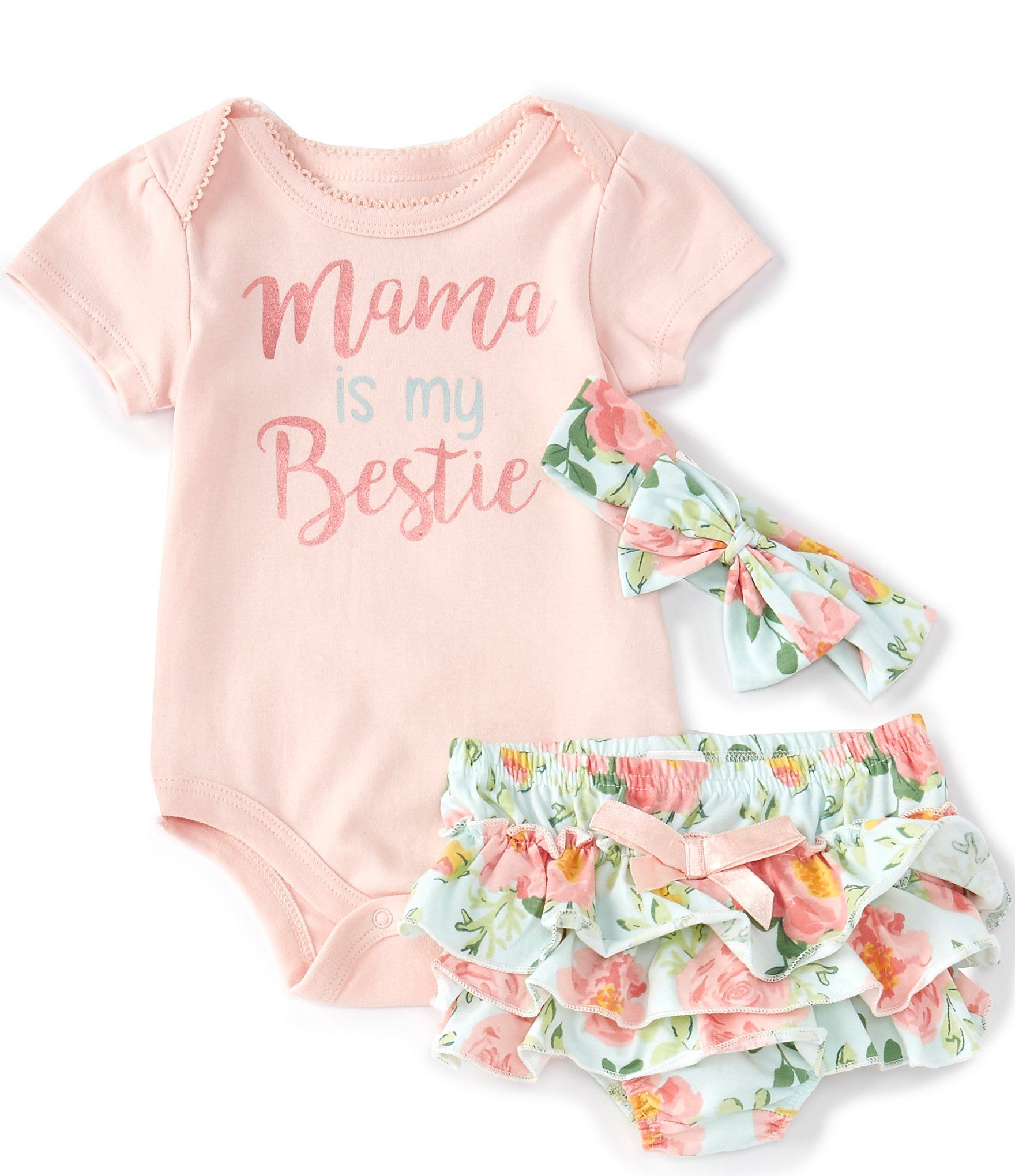 Baby Starters Baby Girls Newborn-9 Months Short-Sleeve Mama Is My Bestie Bodysuit, Floral Panty & Headband Set | Dillard's