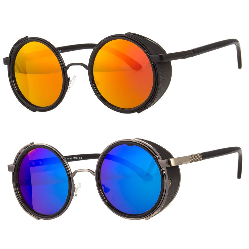6d5415b1af Vintage Retro Mirror Round SUN Glasses Goggles Steampunk Punk Sunglasses