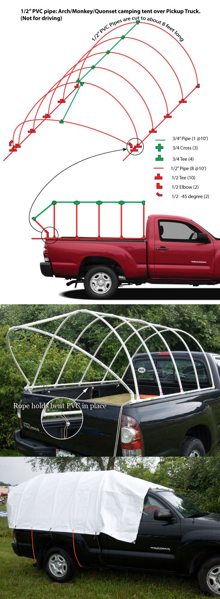PVC Pipe Truck Tent: Monkey Hut / Quonset Hut DIY camping tent over Pickup Truck. Music Festival ...