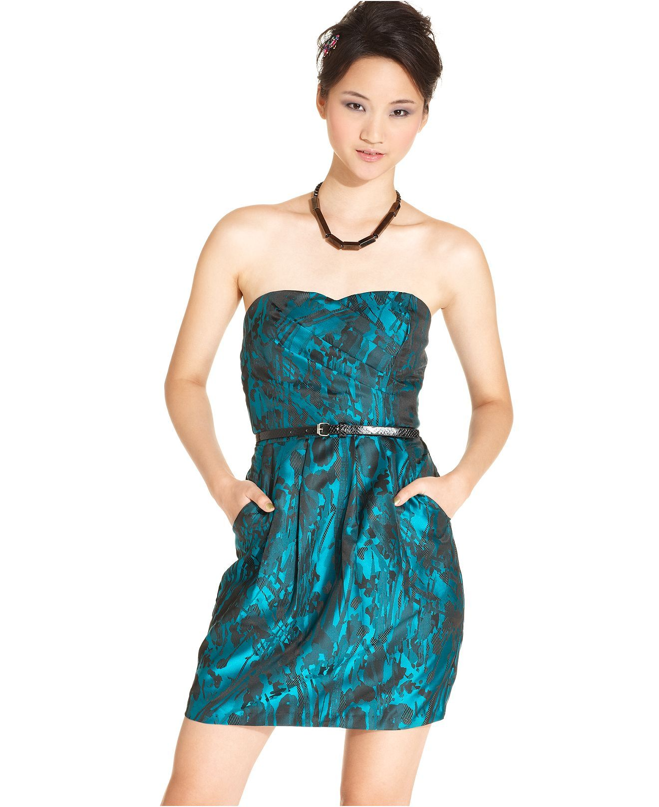 Trixxi Juniors Dress, Strapless Printed Belted - Juniors Dresses ...