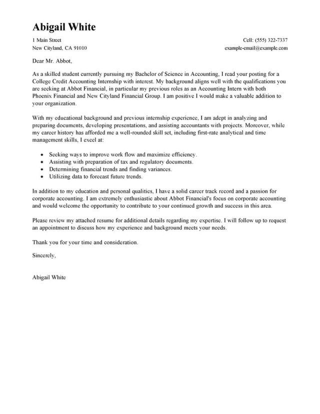 27 Accounting Internship Cover Letter Leading Professional Training College
