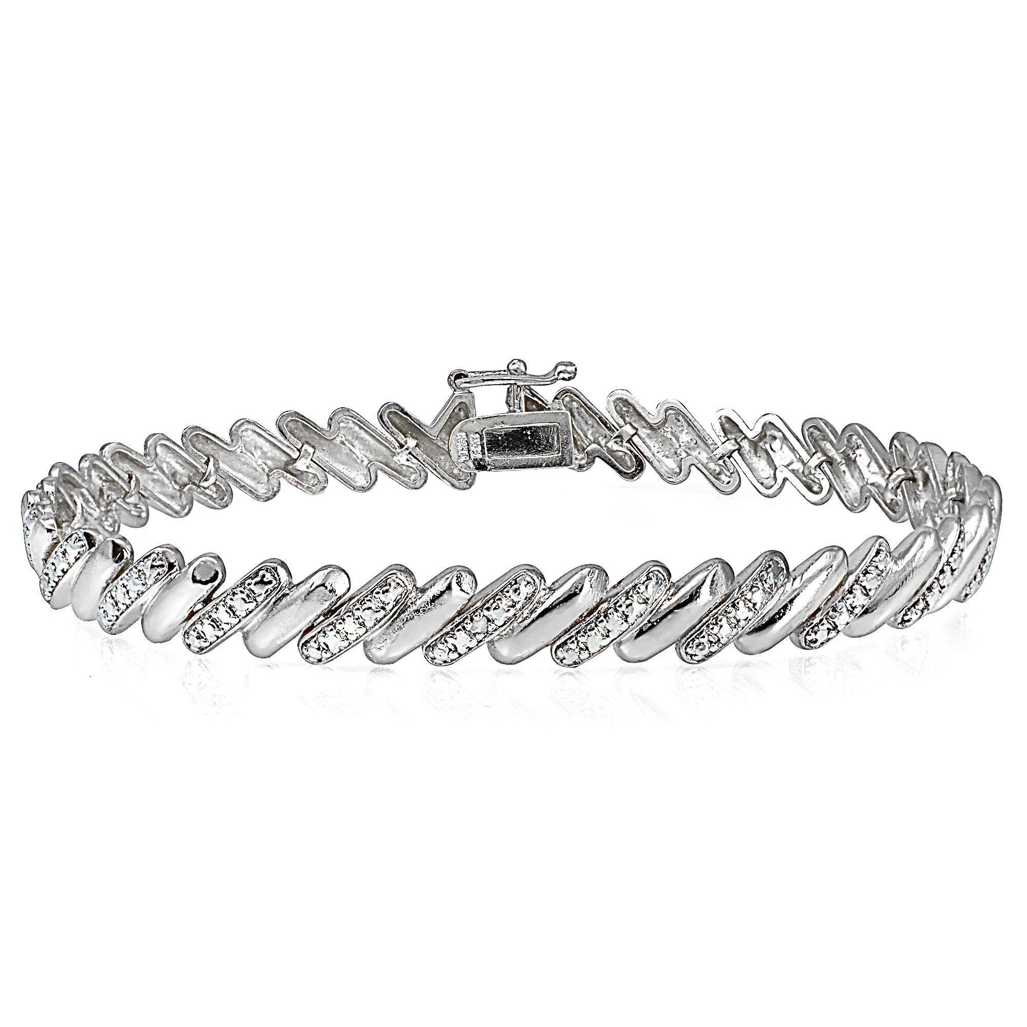 1.80ct Amethyst /& Diamond Accent Infinity Bracelet in Brass