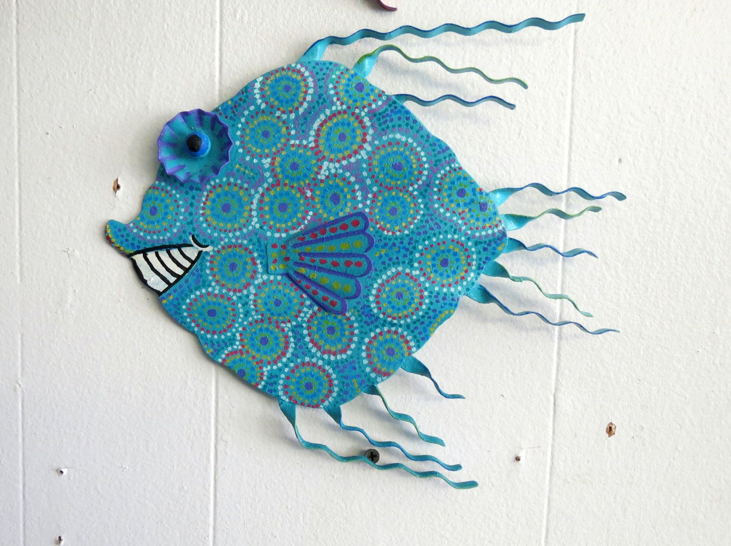 Felix murillo lleno de colores painting acrylic artwork fish art - Fun Whimsy Metal Fish Wall Or Outdoor Art Hand Painted Decor Beach Lake Nautical 11 X Smiling Fish Tropical Fish Art Metal Fish By Glancesbackvintage On