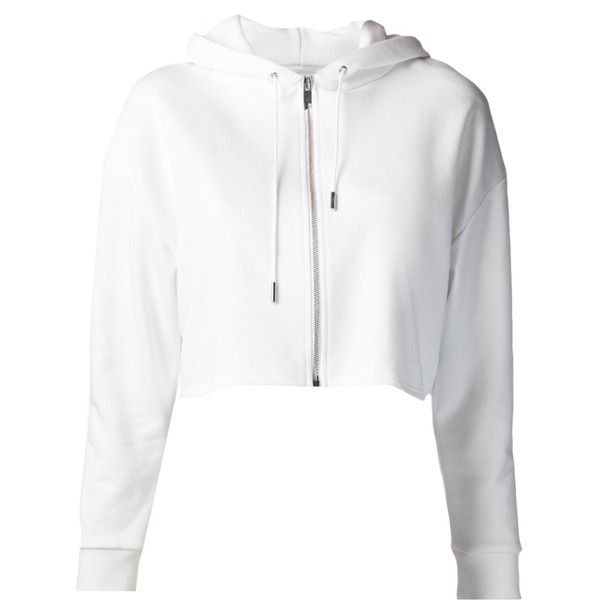 SAINT LAURENT cropped hooded sweatshirt ($555) ❤ liked on Polyvore  featuring tops, hoodies