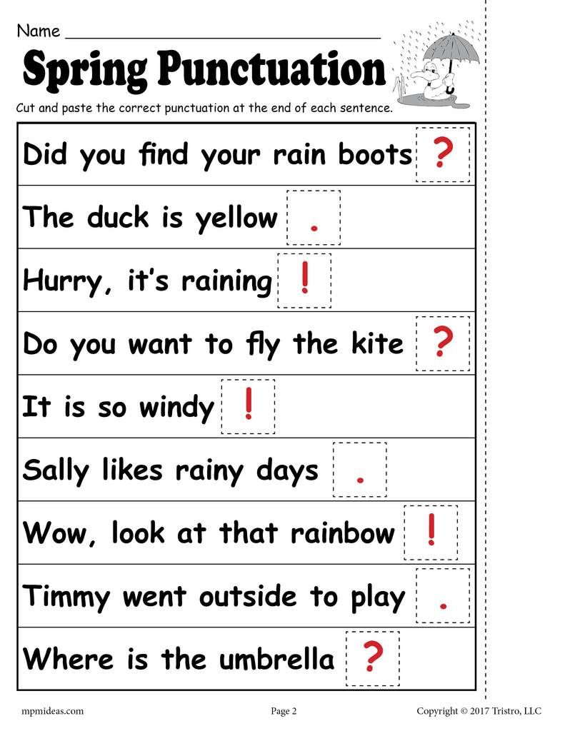 FREE Printable Spring Punctuation Worksheet | Punctuation ...