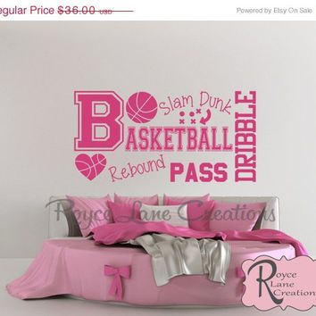 Sale Basketball Word Art Wall Decal B31 Sports Vinyl Wall Decal Basketball  Girls Room Teen Girl