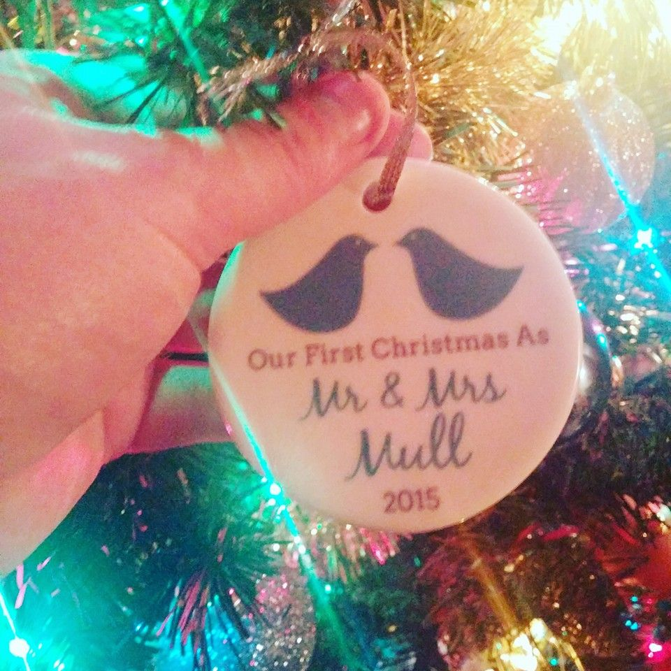 Just Married Mod Love Birds Ornament | Personalized Holiday Ornament ...