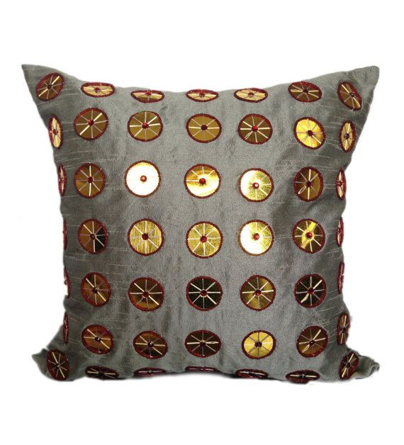 Grey Pillow With Gold Sequins40x40 Grey Decorative Pillow Grey Gold Cool Grey And Gold Decorative Pillows