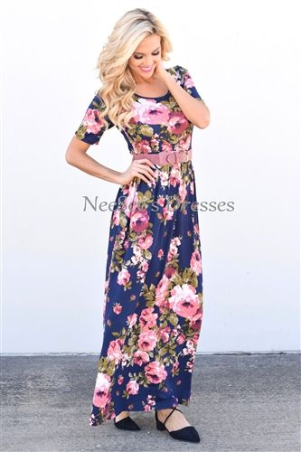 73c45c0058c3 Pretty Navy Floral Fall Modest Maxi Dress