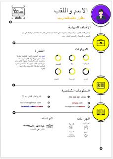 تحميل سيرة ذاتية انفوجرافيك عربي مجانا وورد Doc نماذج سيرة ذاتية Cv Words Cv Template Word Free Cv Template Word