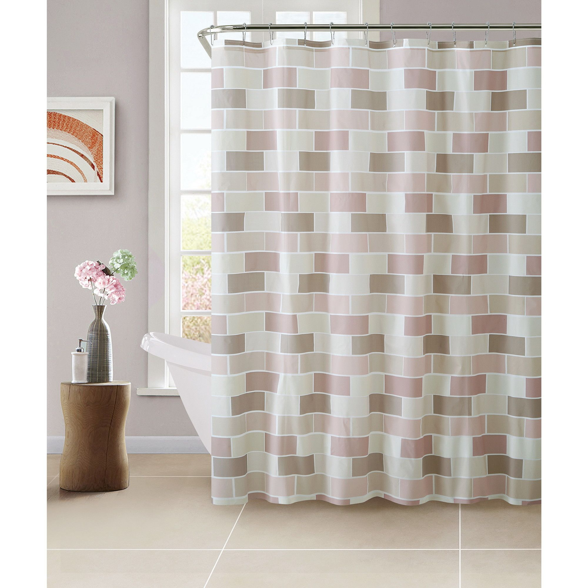 PEVA Tile Design Shower Curtain with 12 Hook Set | Products ...