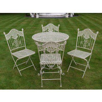 Garden Furniture Iron shabby chic antique cream garden furniture wrought iron patio set