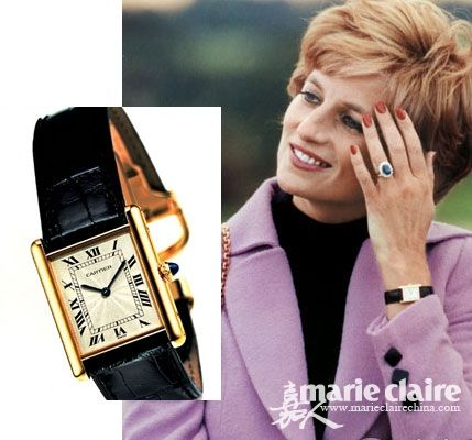 979e57f8f546f2 Pictured is Diana's Cartier Tank Watch given to her by her Father ...