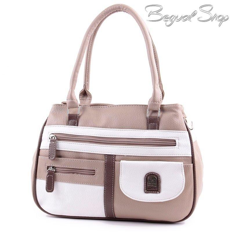 Hernan Bag s Collection barna-fehér női táska. 3 cipzáros rekesszel  rendelkezik. Belsejében 020d954c9f