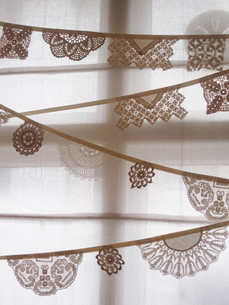 Vintage Doily Bunting.  Crochet Vintage  doilies in white.. £28.00, via Etsy.