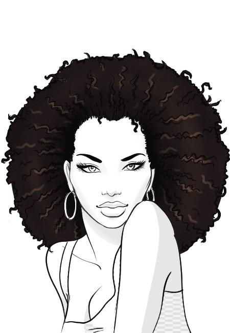 draw afro hair art