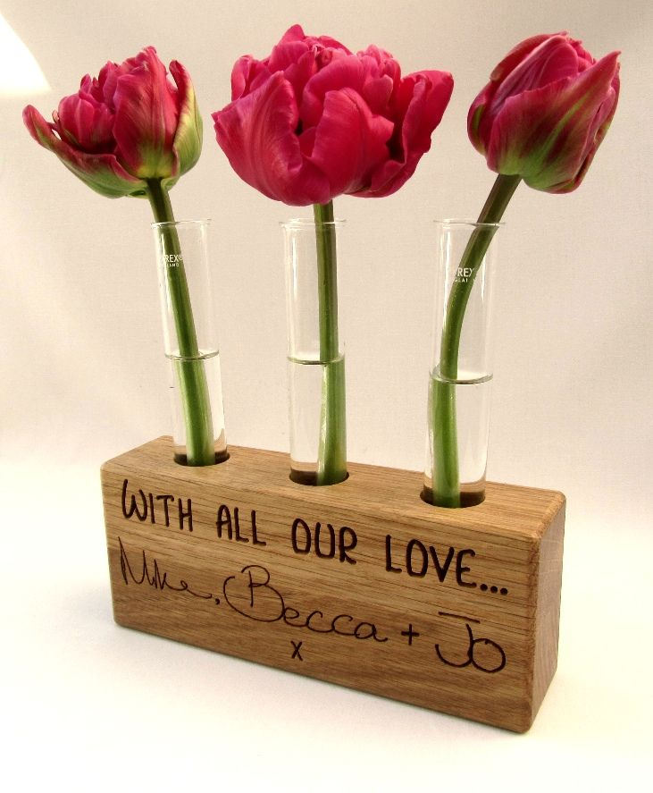 Personalised Test Tube Plant Stand By Buywoodengifts Personalised