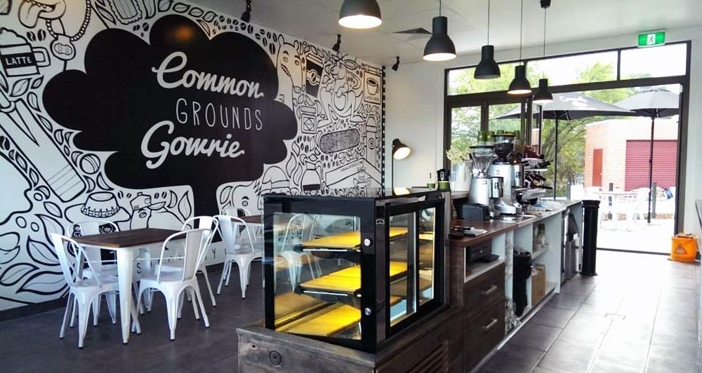 Full wall custom mural common growns cafe coffee shop for Mural coffee shop