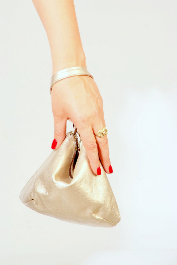 Gold leather purse Gold leather bag metalic bag by AdaBags on Etsy