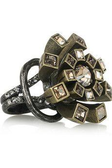 Lanvin. Swarovski crystal flower ring $470