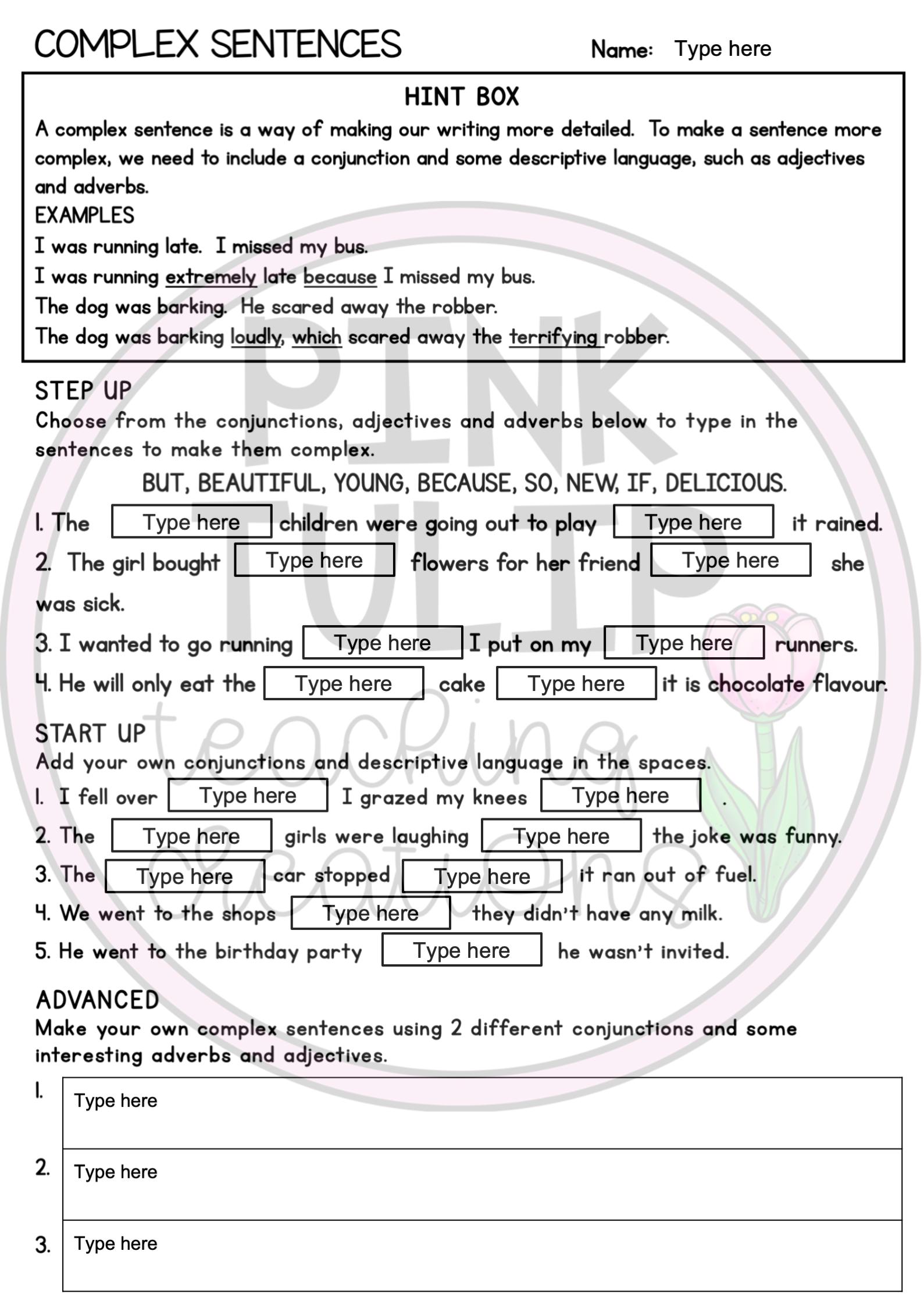 Grammar Worksheet Pack Slides