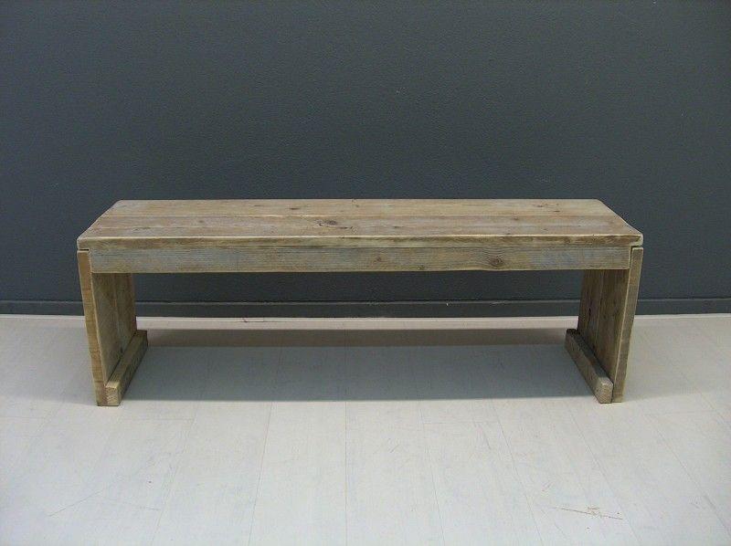 Bankje van steigerhout met gesloten zijkanten model karwei for Houten bankje steigerhout