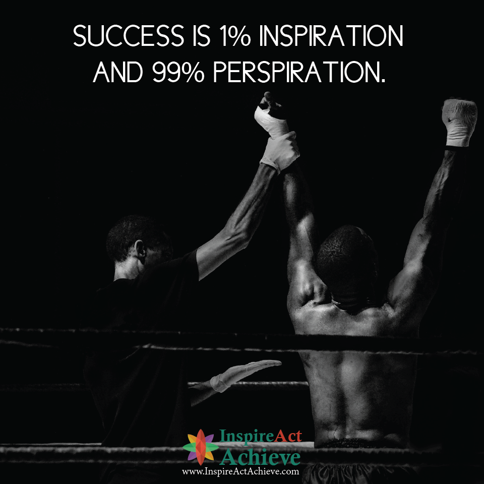 Success Is 1 Inspiration And 99 Perspiration Sucess