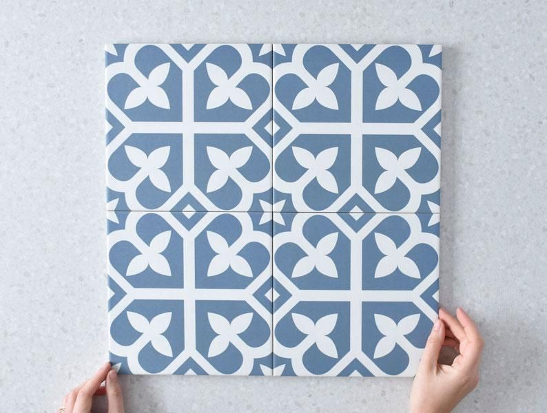 palm beach blue encaustic look tile