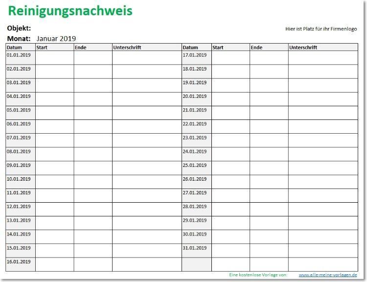Reinigungsnachweis Reinigungsplan Als Excel Vorlage Vorlagen Word Excel Vorlage Reinigungsplan Vorlagen
