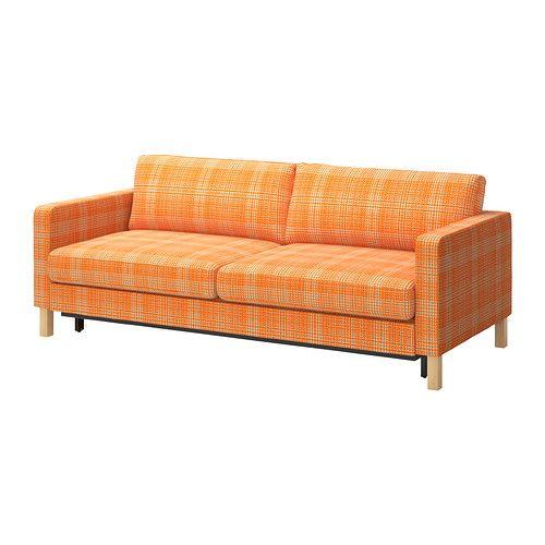KARLSTAD Sovesofa 3 IKEA Opbevaringsplads under sædet har plads til dyner og puder til to.