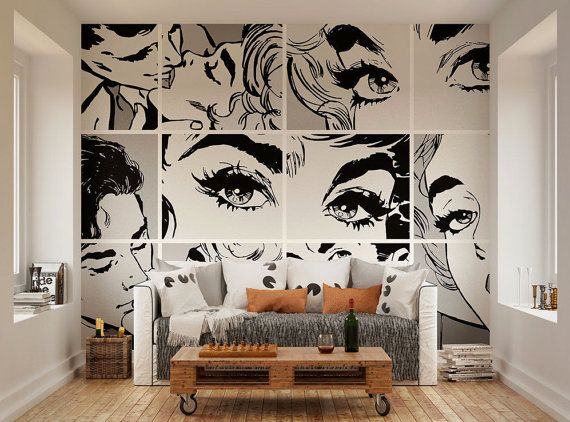 Photo Wallpaper Wall Murals Black And White Pop Art Wall Pop Art Decor Interior Art Diy Wall Art