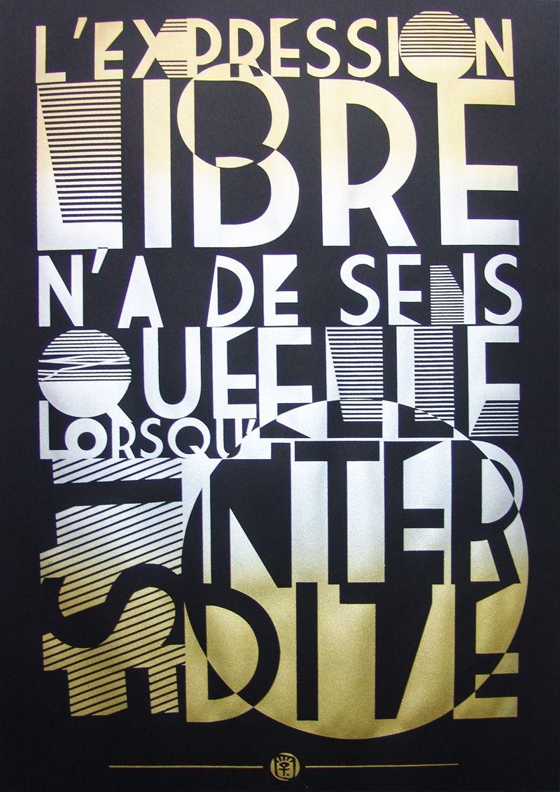 serigraphie affiche poster art typographie rnst noir et metal | type
