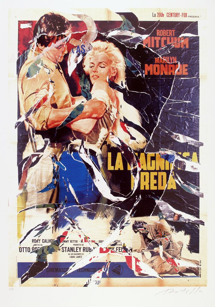 "Mimmo Rotella, ""La Magnifica Preda"" (River of no return - US, Otto Preminger, 1954), Décollage, 100 x 70 cm, 2002  © CPS"