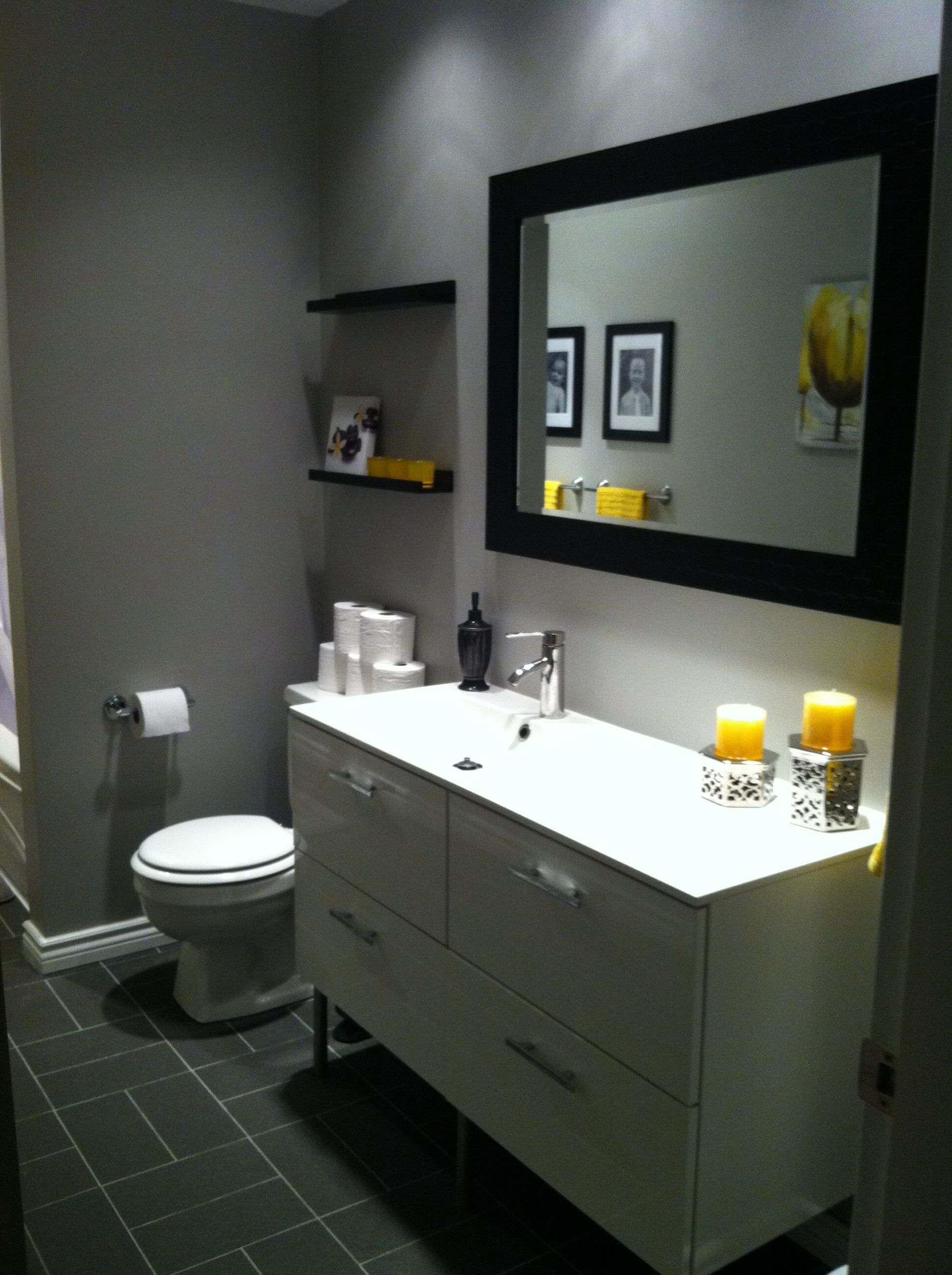 Grey and mustard yellow bathroom. Used the kids pictures ...