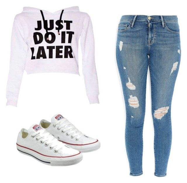 """Untitled #52"" by fallenangelkieo on Polyvore featuring Frame Denim and Converse"