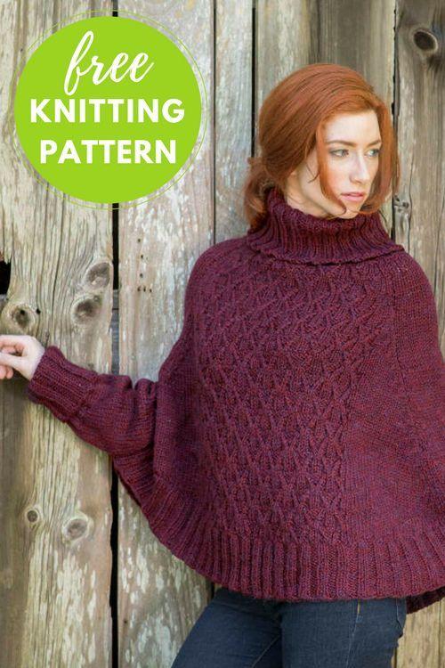 Galilee Poncho Sweater Free Knitting Pattern Chunky Yarn Poncho