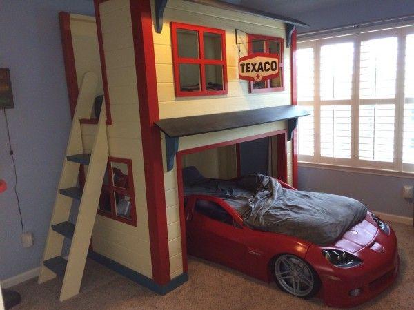 garage loft bed diy kids car