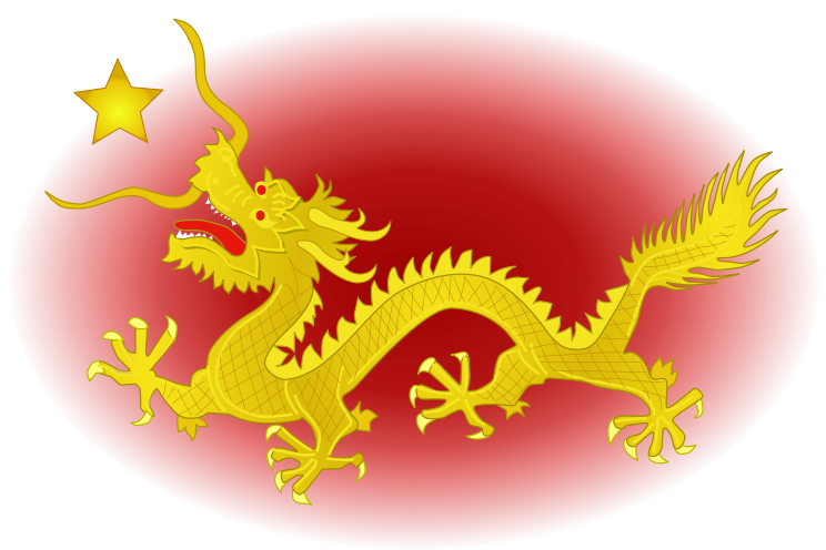 The golden chinese dragon with a star over a red field  The dragon