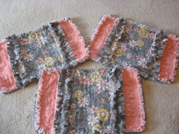 3 Peach and Gray Flowery Baby Girl Burp Cloths with Minky backing