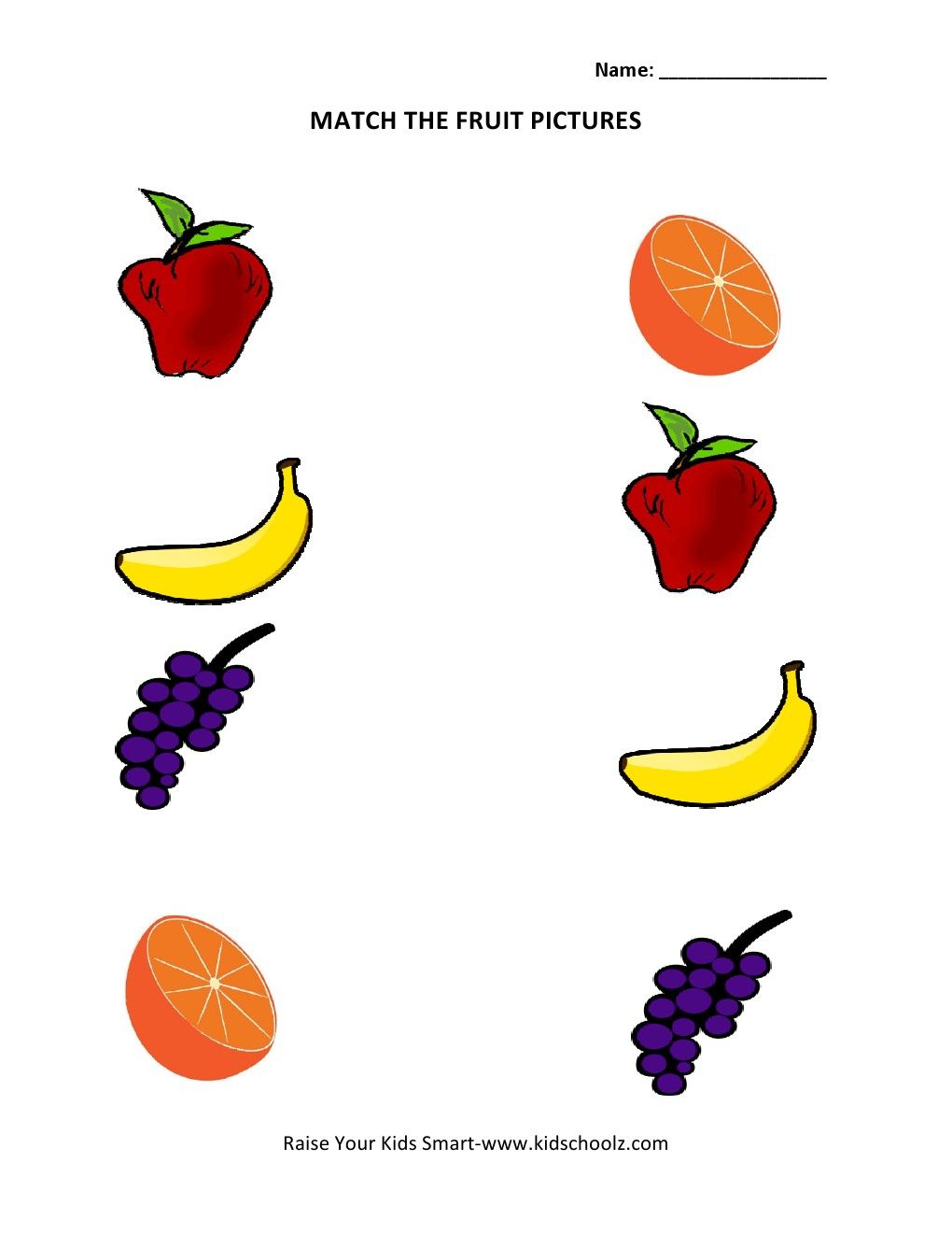 Printable color matching games for preschoolers - Picture Matching Worksheets Fruits