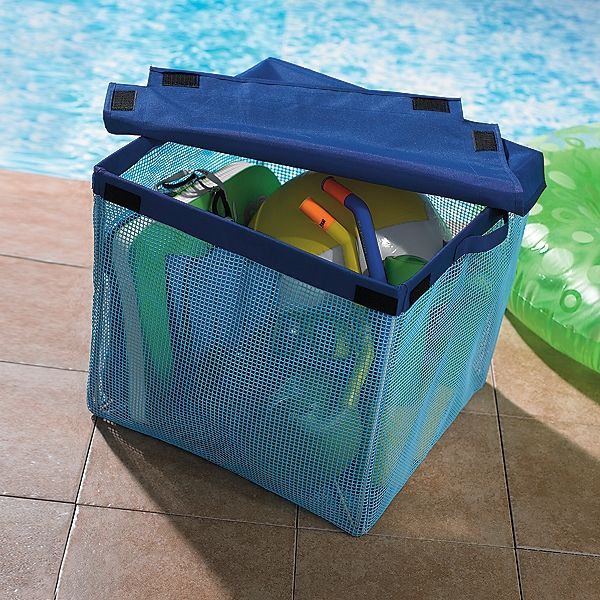 Mesh Outdoor Storage Bin Pool Toys Backyard Storage Container