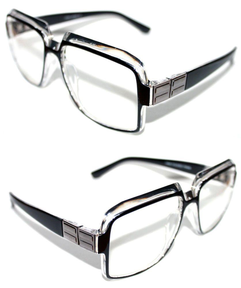ed889c727878 Men s Women s Vintage 607 Hip Hop Clear Lens Eye Glasses Run DMC Black Clear  Slv  Stars  Square