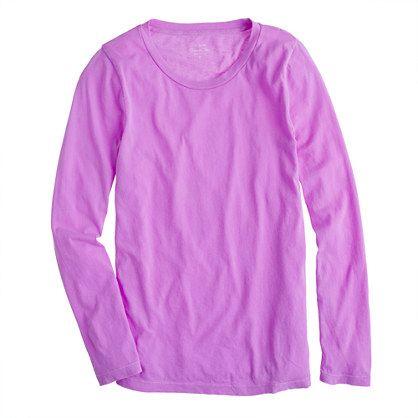 Tissue long-sleeve tee in neon violet