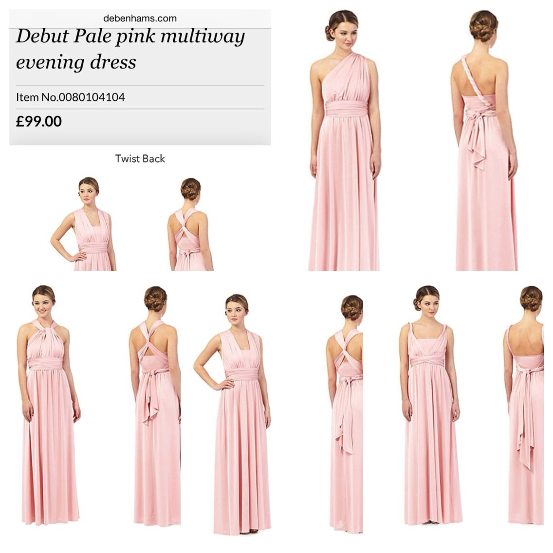c0d3d2e4a6e42 Debut pale pink multi way bridesmaid dress- Debenhams | Outfit ideas ...