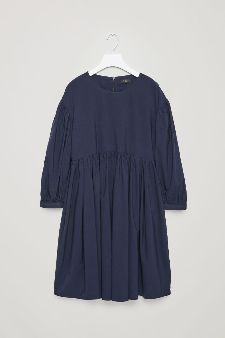 COS image 4 of Cotton dress with gathering detail in Navy