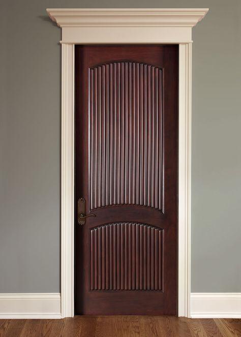 Interior Door Custom Single Solid Wood With Dark Mahogany Finish