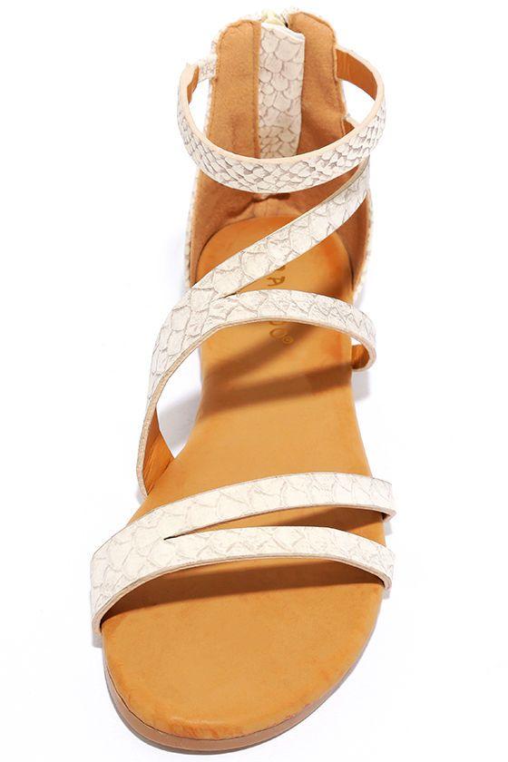 266aa7f3d494 Next Stop Beige Snakeskin Flat Sandals