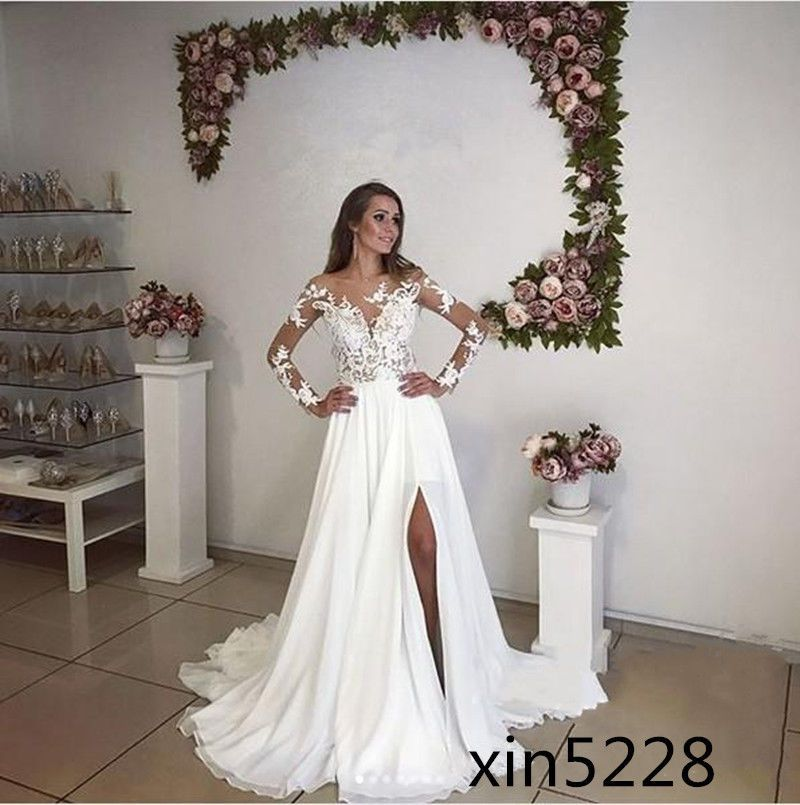 Bohemian Wedding Dress Split Summer Maternity A Line Beach Chiffon