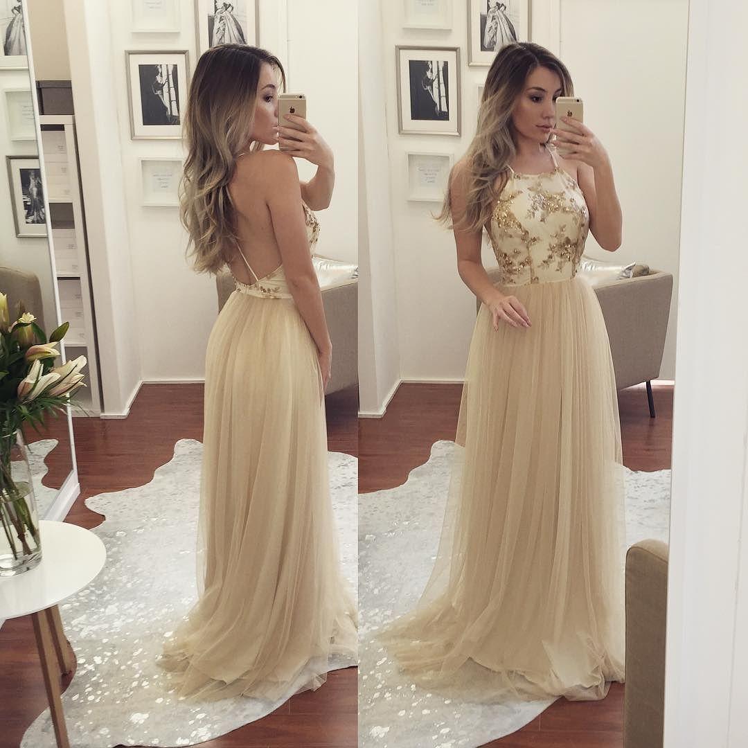 Long prom dresses aline sleeveless open back in