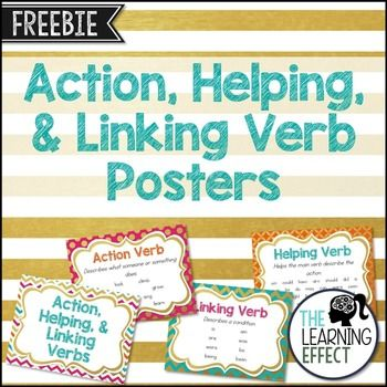 Action Helping And Linking Verb Posters For Classroom Usecludes